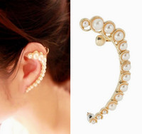 Wholesale Korean Style Cuff Earrings - Women pearl clip earring moon shape golden plate with ear hole ear cuff Korean style fashion free shipping