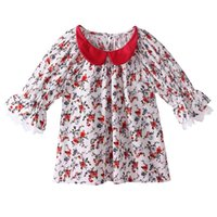 Wholesale summer t shirt sell for sale - Pettigirl Hot Selling Girls Summer T shirt With Half Sleeve Stylish Lace Patchwork Baby Top Retail Child Red Collar Clothing GT81027 L