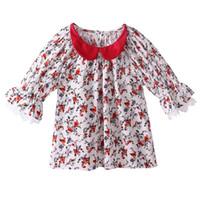 camisa de verão vermelho de bebê venda por atacado-Pettigirl Venda Quente Meninas Verão T-shirt Com Meia-Manga Elegante Lace Patchwork Bebê Top Varejo Criança Red Collar Vestuário GT81027-5L