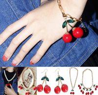 Wholesale Chandelier Necklaces Wholesale - Frozen Cherry Dangle Earrings Necklace Bracelet Lovely Red Fruit Ear Stud Crystal Rhinestone Fashion Charm Earrings Necklace Bracelets