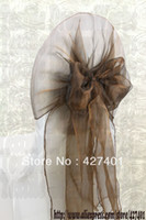 Wholesale Wholesale Chair Hood Ties - Wholesale-Hot Sale Chocolate Snow Organza Chair Hoods   Chair Caps   Wrap Tie Back   Chair Sash For Wedding Event&Party&Banquet