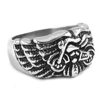 Wholesale Eagle Wings Rings - Free shipping! Eagle Wings Motorcycles Biker Ring Stainless Steel Jewelry Fashion Gothic Motor Biker Men Ring SWR0261