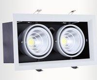 çift ızgara toptan satış-4 Adet / grup çift led ızgara ışık 2 * 15 w led tavan aşağı ışık Sıcak / Saf / Soğuk Beyaz 30 W AR80 COB ışık iki yıl garanti AC85-265V