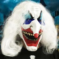 Wholesale woman scary halloween masks - Clown Skull Mask Horror Halloween Masks For Women Men Eyeball Devil Party Wrapped head Scary Mask Long White Hair