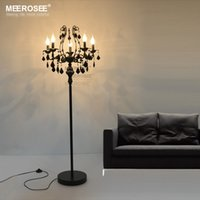 Wholesale Standing Candelabras - Vintage 5 Lights Crystal Floor Lamp, Floor Stand Light Fixture Cristal Lustre de cristal Candelabra Standing Lamp Centerpiece
