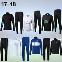 Wholesale Football Training Jackets - 17 18 Real Madrid Soccer Tracksuit Jacket Suit Track Suit 2017 2018 Ronaldo Jogging Football Tops Coat Pants Adults jacket Training kit
