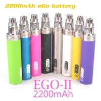 Wholesale Ego E Power - Original GS eGo II 2200mAh battery KGO ONE WEEK 2200 mAh huge capacity Power mods vapor mod atomizers vape pen e cigs cigarettes battery DHL
