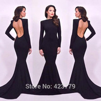 Wholesale Slim Nude - Sexy Long Sleeves Hollow Back Mermaid Evening Dresses 2016 High High Slim Fitted Lon Prom Dresses Sweep Train Evening Gowns Arabic BA1861