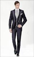 UK best groom wedding dress - 2015 New Royal Blue Gentleman Wear Groom Tuxedos Peaked Lapel Slim Fit Best Men's Wedding Dresses Prom Clothing(Jacket+pants+Tie) A6