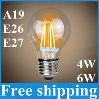 bombilla a19 al por mayor-Bombillas Led A19 Lámpara de vidrio Edison 4W 6W E27 B22 E26 A60 Blanco cálido / frío AC110V 220V Equivalente a 60W Led Globe Light