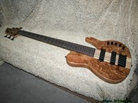 Wholesale Bass Guitar Natural Electric - Natural Wooden 6 Strings Electric Bass ONE Piece Neck with Battery High Quality Wholesale Guitars