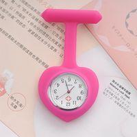 Wholesale Heart Silicone Nurses Watch - Candy heart shape nurse doctor watch silicone rubber hang watch ladies pocket Fob Clip Nurse medical watch