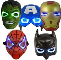 Wholesale kids batman party masks for sale - Group buy The Avengers Masks The Hulk Captain America Batman Spiderman Ironman LED Glowing Party Mask Kids Halloween Gifts