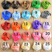 Wholesale Mini Rosettes For Headbands - 120pcs lot,1.5inch Mini satin ribbon rose flower,satin rolled rosette for baby headbands hair accessories
