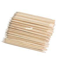 orange nagelhautstangen großhandel-100 teile / paket Nail art Orange Holz Stick Nagelhautschieber Remover für Maniküre Schönheit Werkzeuge Chirstmas Geschenke Hohe Qualität