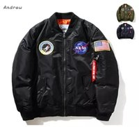 Wholesale Flags Images - NASA Mens MA1 Bomber Jackets Insignia USAF Kanye West Hip Hop Sport Male Windbreaker Jacket Flag Mens Thin Section Jacket Winter Jacket Men