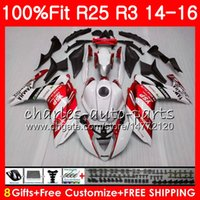 Wholesale Yamaha 25 - Injection Body For YAMAHA white red YZF R 3 YZF-R3 YZF-R25 R25 14 15 16 Cowling 83NO7 R 3 YZFR3 YZFR25 R 25 R3 2014 2015 2016 Fairing Kit