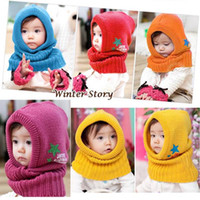 Wholesale Earflap Beanies For Kids - Hot Winter Beanie Baby Kids Boy Girl Warm Beanie Neckerchief Hats Hooded Scarf Earflap Knitted Cap For 2-8 Years Old
