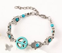 Vintage Peace Charm Bracelets barato Mulheres Retro Jóias Auntique Silver Plated Lobster Clasp Bracelets For Women