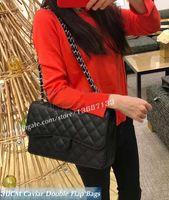 Wholesale xl leather bag - XL Black Caviar Quilted Double Flap Bag burgundy Fashion Women's Genuine Leather Chain Shoulder Bag 1113 Jumbo Handbags Silver Hardware