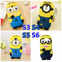 Wholesale Despicable Cover S4 - Wholesale-3D Cartoon Despicable Me 2 Minions Case Minion Yellow Silicone Cover for Samsung Galaxy S6 G920 S3 i9300 S4 i9500 S5 i9600