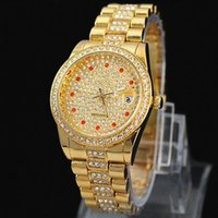 Wholesale Diamond Silver Watch Women - New Arrivals Top Luxury golden women watch with full diamond Gold Stainless Steel wristwatches famous brand table High Quality