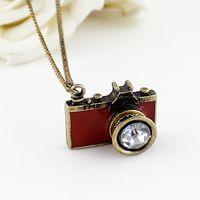 Wholesale Vintage Camera Jewelry - Hot sale vintage style Fashion Jewelry enamel camera pendant necklace for women
