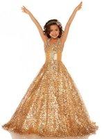 Wholesale Halter Princess Pageant Dresses - 2017 Charming Sequin Princess Gold Pageant Dress Halter Sleeveless Floor Length New Glamorous Satin Flower Girl Dresses