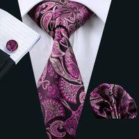 Wholesale Purple Tie Square Pocket - Purple Tie for Men Neck Tie Set Pocket Square Cufflinks Jacquard Woven Formal Mens Silk Tie Work Meeting Leisure N-0286