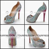 Wholesale Beaded Platform Heels - 2015 New Crystal Wedding Shoes With Rhinestone Peep Toe Platform High Heel Custom Multi-color Woman's Party Prom Evening Bridal Shoes MA0367