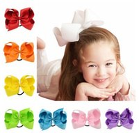 Wholesale Yellow Bow Ring - Girls Bows hairbands children hair rubber band hair fabric 6 Inches kids grosgrain Bows clip ring elastic head rope accessory R0760