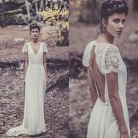 Wholesale Sheath Chiffon Bridal Wedding Dress - 2015 Bohemian Wedding Dresses Laure de Sagazan Sheath Sexy Bridal Gowns Backless V Neck Boho Beach Wedding Gowns Short Sheer Lace Sleeves