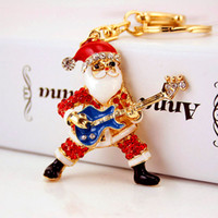 Wholesale Guitar Gold Tops - Santa Claus Guitar Keychains For Girls Top Quality Enamel DIY Keyring Beautiful Birthday Gifts Accessories Wholesale