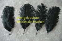 Wholesale Eiffel Centerpieces - Prefect Natural Ostrich Feather Pure Black 10-12 inch Wedding Decoration wedding centerpiece Eiffel Centerpieces party event supply decor