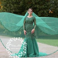 Lange Grüne, Geschwollene Kleider Kaufen -Bling Kristall 2018 Grüne Brautkleider Mit Langen Ärmeln Puffy Mermaid Major Süße Sheer Neck Middle East Frauen Braut Formale Kleid