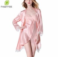 Wholesale Two Pieces Lingerie - Summer Lingerie Two Pieces Sets Nightgowns&Sleepshirts Elegant Womens Silk Satin Solid Sleepwear Mujer Robe Lady Sexy