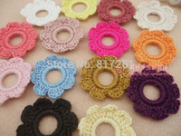 Wholesale Hair Pic - free shipping 4 cm square 30 pics lot cotton crocheted accessory for baby girl hair decoration knitted flower headbands turbans baby hair