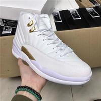 Wholesale Air Fibre - Air Retro 12 OVO White Gold Drake Black Mens Basketball Sneakers Retro 12s For Sports Shoes Real Carbon Fibre With Original Box