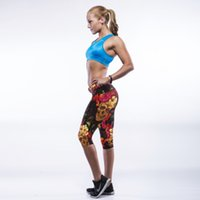 Wholesale Wholesale Combat Trousers - Wholesale-EAST KNITTING Ladies Skull Print Sexy Leggings Women Active Combat Pants Sports Pencil Pants Fitness Casual Trousers