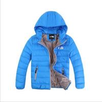 bebek kızı ceket toptan satış-Bebek Erkek Ceket 2017 Kış Ceket Kızlar Için Ceket Çocuklar Sıcak Kapüşonlu Saf Renk Bebek Erkek Ceket Çocuk Giyim giysi