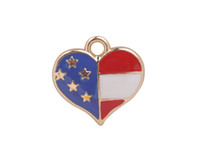Wholesale flag charms - 20 PCS Fashion Enamel American Flag Color Heart Charms #92220