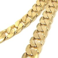 """Wholesale Curb 12mm - 24K YELLOW GOLD FILLED MEN'S NECKLACE 24""""CURB CHAINS GF JEWELRY 12MM WIDTH"""