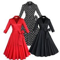 Wholesale European Winter Women Dress - Fashion New Audrey Hepburn Vintage Style Casual Dresses Modern Ruffles Women European Fall Winter Long Sleeves Causal Skirts OXL082209