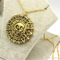 Wholesale Pirates Caribbean Jewelry - Aztec Coin Pirates of the Caribbean Aztec Hot Coin Necklace Men Skull Sweater Pendant Jewelry Necklaces & Pendants hot sale free shipping