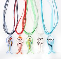 Wholesale Fashion Murano Glass Pendant - 2016 New Fashion Handmade Silver foil Fish Animal Murano Glass pendant necklace Handmade Jewelry Wholesale Lots Colorful 6Mix Color