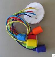 Wholesale Led Dip Red - Colorful lights 6 E27 lamp holder dragon head droplight line diy Edison dip color woven cloth