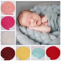 Wholesale mechanical photos - Newborn Boys Blanket Handmade Crochet Knitted Baby Photography Prop Girls Wool Photo Props Backdrop Background LDH90