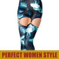 "Wholesale Black Milk Jellyfish - FG1509 Tops! GS-07 Leggings Galaxy Sexy Women 2013 Design ""Black Milk"" JELLYFISH BLUE Suspenders Leggings Design Pants"
