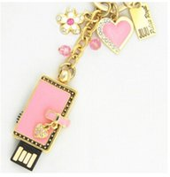 Wholesale Heart Shaped Usbs - New design Fashion purse with heart shape Jewelry USB stick 64GB 128GB 256GB USB 2.0 Flash drive USB sticks pendrives