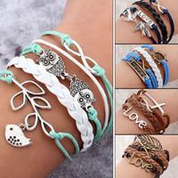 Wholesale Diy Wrap Bracelet - 45 styles Vintage Bird Owls Anchors Bracelet 2016 Wrap Leather Bracelet DIY Charm bracelets for women